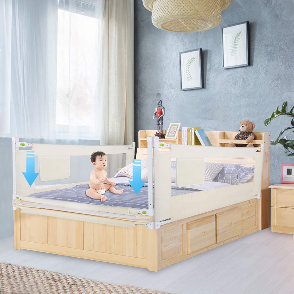 68 cm. Childrens Bed Rail Anti-Drop Folding Safe Bed Rail for Children Baby White 180cm