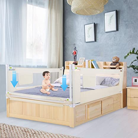 Bed Rail for Baby 78.74 X 26.77inch Portable Foldable Children Bed Rail Beige