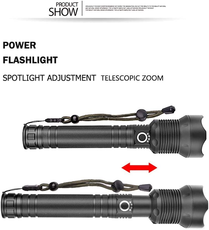 Lampe Torche LED USB Rechargeable Torche IPX6 /étanche Super Lumineux 90000 lumens Lampe de Poche Zoom t/élescopique avec 3 Modes de randonn/ée Camping Activit/és Lampe de poche Xhp50 + c/âble USB