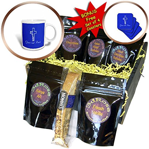 3dRose Alexis Design - Christian - Cross, veil, the decorative text Grace and Peace on blue - Coffee Gift Baskets - Coffee Gift Basket (cgb_286181_1)