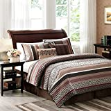 5 Piece Deep Burgundy Dark Brown Tan Red Southwest Coverlet King Set, Southwestern Bedding Tribal Native American Colors, Lodge Cabin Themed Jacquard Pattern, Polyester Cotton