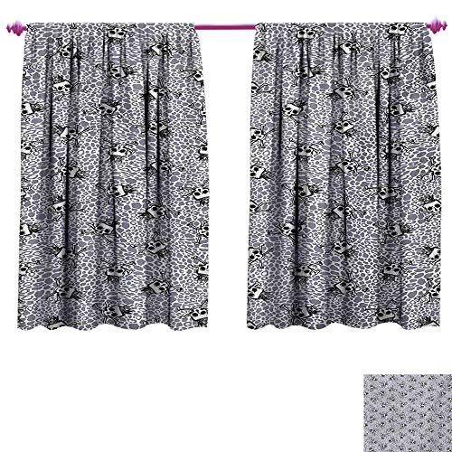 cobeDecor Skull Blackout Draperies for Bedroom Crowned Skull Crossbones Illustration Against Animal Skin Print Pattern Patterned Drape for Glass Door W55 x L63 Black White Purplegrey
