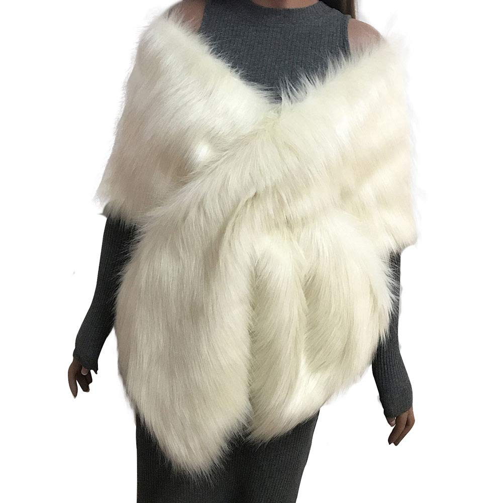 Forart Women Faux Fur Shawl Wrap Stole Shrug Bridal Wedding Warm Coat Poncho Cape