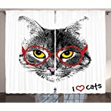 Cat Lover Decor Curtains by Ambesonne, Wise Nerd Cat with Glasses Judging the World Humor Digital Style Art Illustration, Living Room Bedroom Decor, 2 Panel Set, 108W X 90L Inches, Black White Red