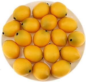 Gresorth 24 pcs Fake Fruit Artificial Lemon Decorations Likelike Decorative Food for Home Kitchen Party Christmas Display - Mini Size (2.2 inch)