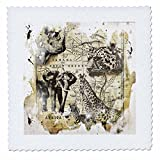 3dRose Andrea Haase Animals Illustration - Wildlife vintage Africa map with rhino, elephant, cheetah, zebra, giraffe - 22x22 inch quilt square (qs_266484_9)