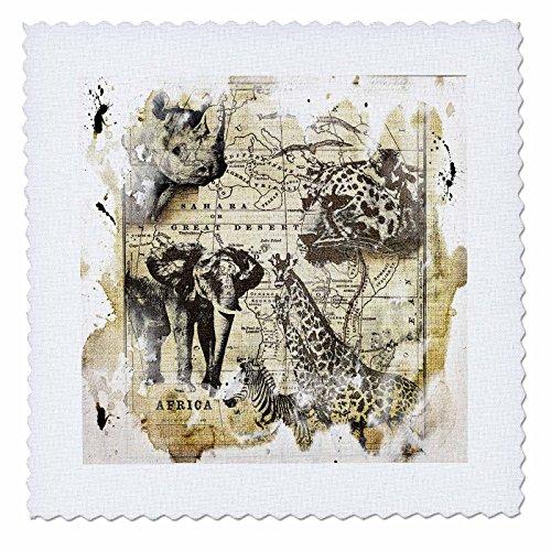 3dRose Andrea Haase Animals Illustration - Wildlife Vintage Africa map with Rhino, Elephant, Cheetah, Zebra, Giraffe - 14x14 inch Quilt Square (qs_266484_5)