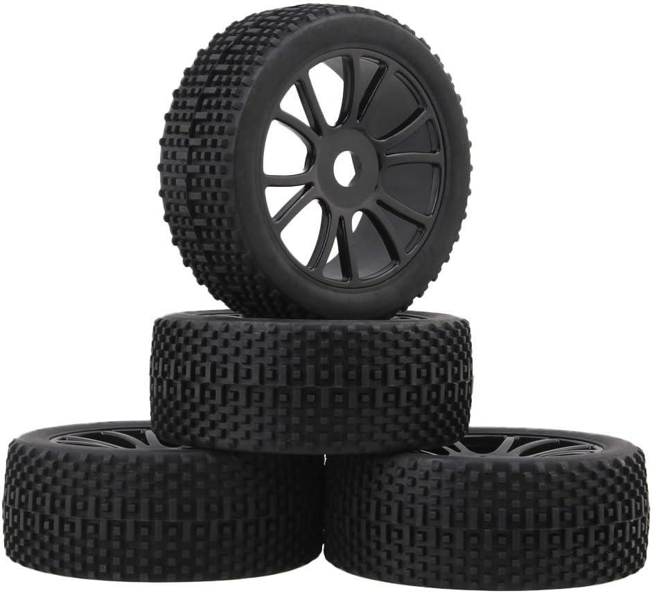 Mxfans 4個入れ ブラック チェッカー柄 ラバー タイヤ& ブラック プラスチック 12スポーク ホイールリム RC 1:8 オフロード車のため