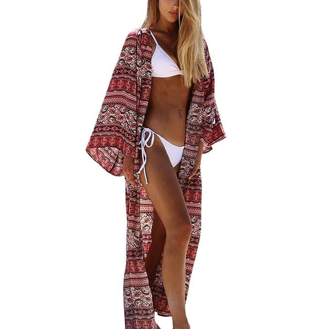 ... Donna Abito Donna Lungo Elegante Vestiti Lunghi Spiaggia Vestito Donna  Estivo Costume Costumi Bikini da Donna - Camicetta da Donna Allentata   Amazon.it  ... 276b258fc1c