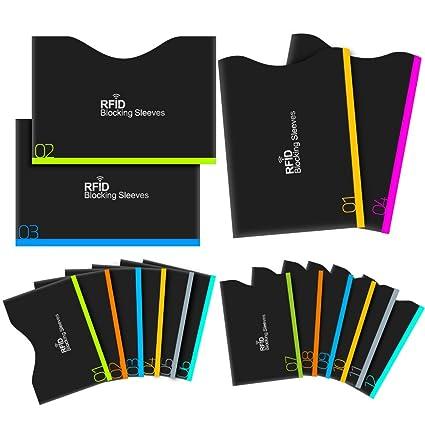 protector de la tarjeta de crédito, Aerb 16-Pack RFID que bloquea las mangas para la protección del hurto de la identidad [12 mangas de la tarjeta de ...