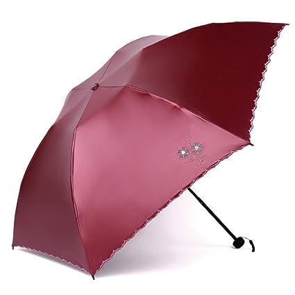 Zxzxzl Sombrilla Ultra Ligera Paraguas De Fibra De Carbono Protector Solar Paraguas UV Tres Paraguas Plegable