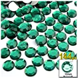 The Crafts Outlet 144-Piece Flat Back Round Rhinestones, 10mm, Emerald Green