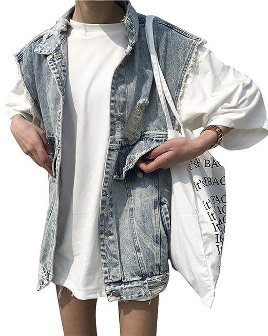best service e40d7 d0158 PengGeng Donna Semplice Casual Giacche Corte Gilet Jeans ...