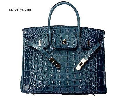 1766541e32 Vintage Alligator Birkin Style Bag Purse Tote Handbag (Blue, 25cm - S)