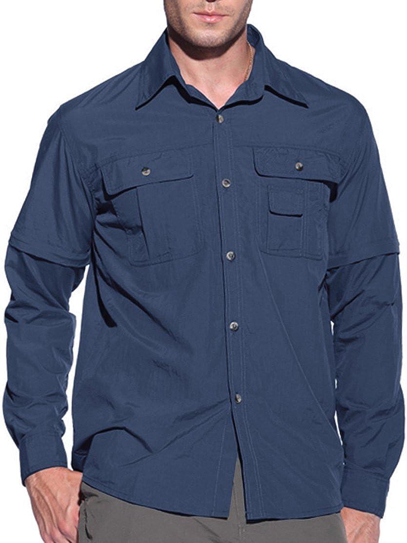 donhobo Mens Outdoor Convertible Shirts Quick Dry Long Sleeve Short Shirt...
