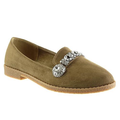 Angkorly Zapatillas de Moda Mocasines Slip-on Mujer Joyas Strass Talón Tacón Ancho 2 CM: Amazon.es: Zapatos y complementos