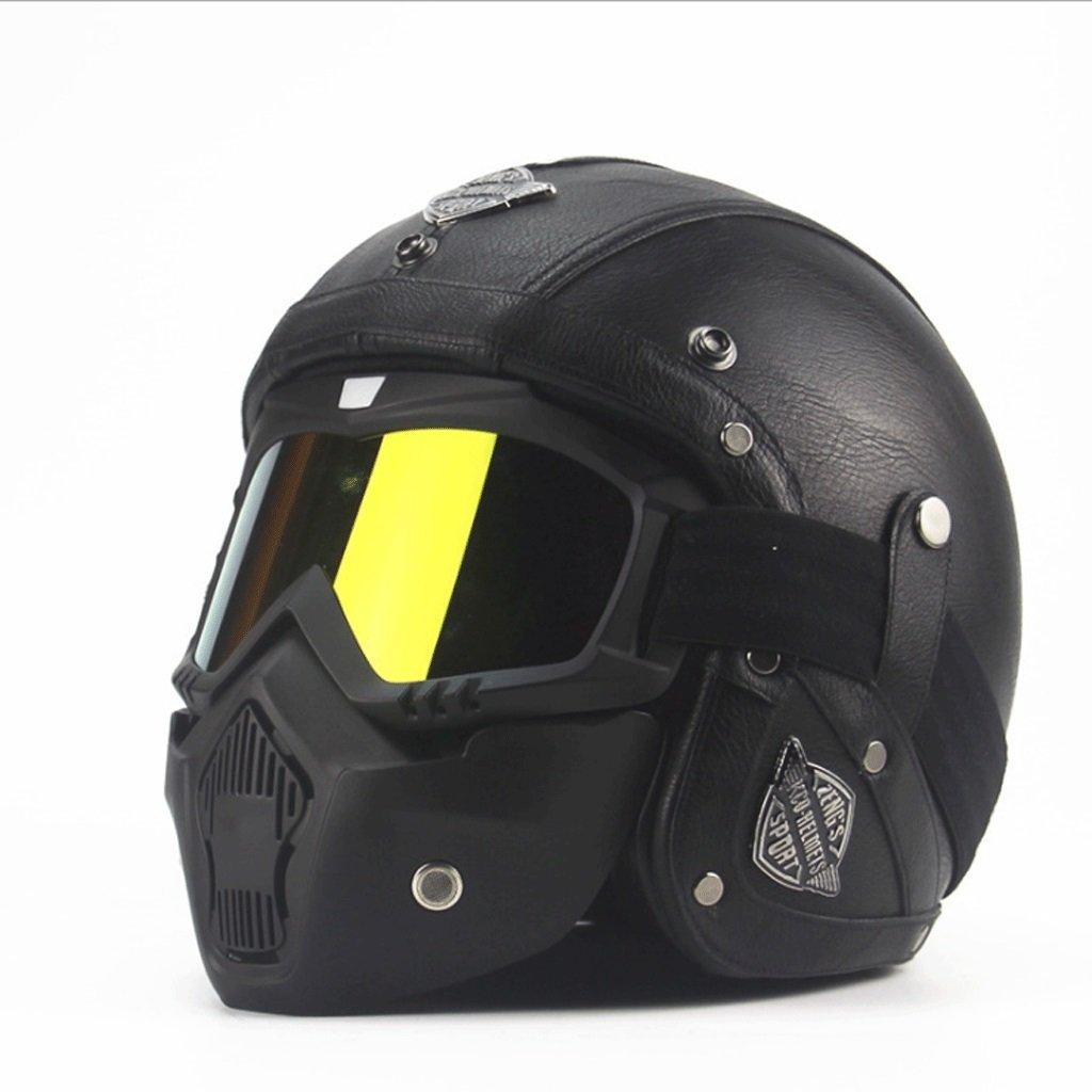 DGF ヘルメットレトロオートバイ電気自動車のマニュアルフォーシーズンバイザーハーレー3/4レザーヘルメット男性と女性ハーフヘルメット (色 : A, サイズ さいず : L l) B07FB42TN3 L l A A L l