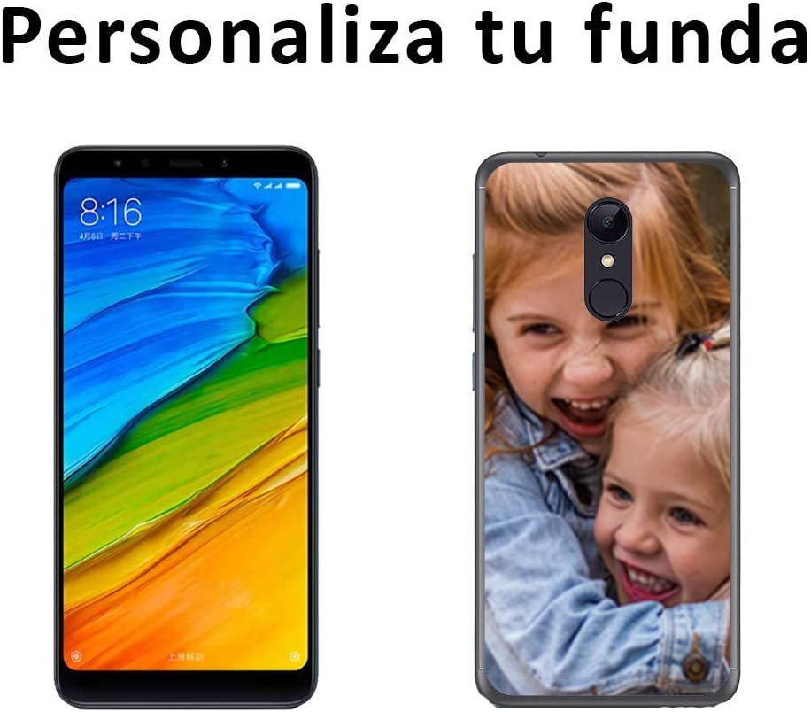 Mookase Funda Carcasa Personalizada para tu móvil Xiaomi con Foto, Imagen o Texto. Flexible, Bordes Transparentes (Redmi 5 Plus, Gel Flexible)