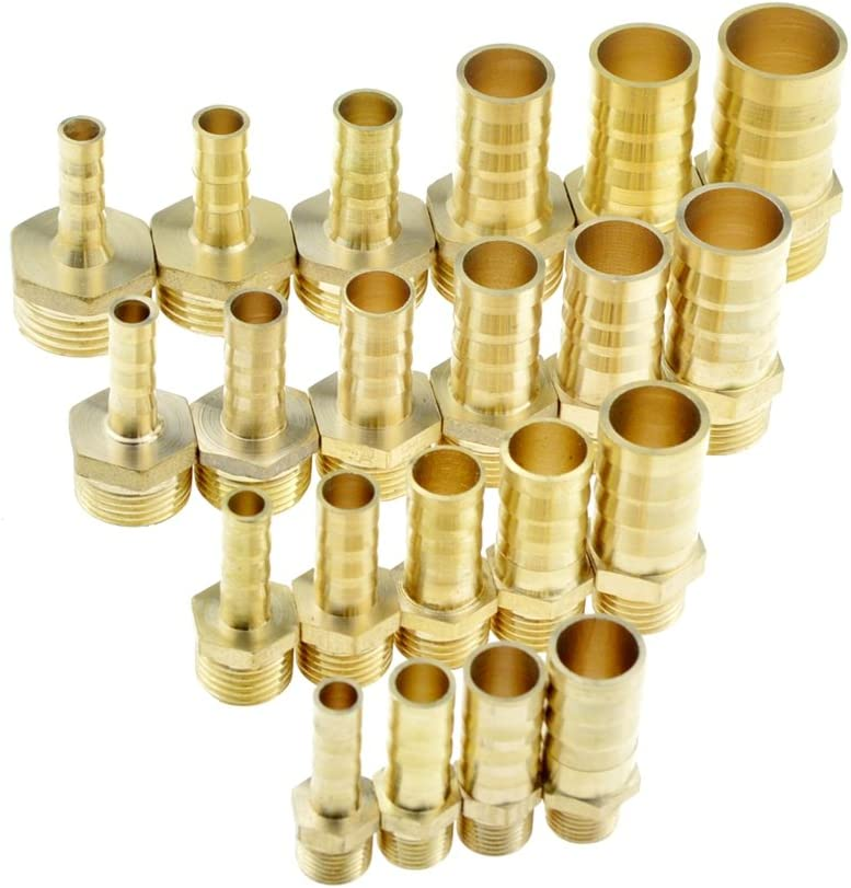 Juijnkt Brass Pipe Fitting 4Mm 6Mm 8Mm 10Mm 12Mm 19Mm Hose Barb Tail 1//8 1//4 1//2 3//8 BSP Male Joint Copper Coupler Adapter 1//2 12mm Barb