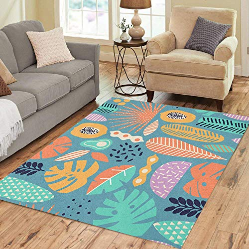 Collection Exotica (Semtomn Area Rug 2' X 3' Blue Modern Exotic Jungle Fruits and Plants in Colorful Home Decor Collection Floor Rugs Carpet for Living Room Bedroom Dining Room)