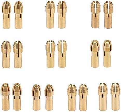 Imagen delatón Drill Chuck,BETOY 2 juegos Broca Collet Vástago del Tornillo Tuerca Set Brass Portabrocas Collet Bits 0.5-3.2mm Portabrocas Fijado para la Herramienta Rotativa Dremel