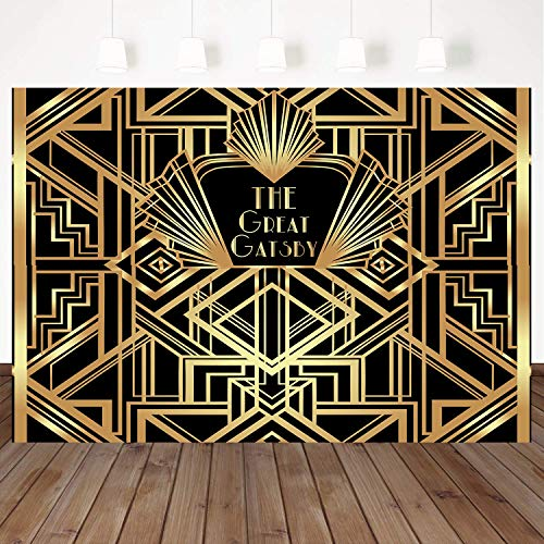 Mehofoto Great Gatsby Birthday Backdrop Luxury Gold and Black Photography Background 8X6ft Vinyl Children Adults Baby Shower Photo Studio Booth Background ()