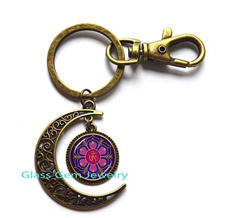 Amazon.com: Om Buddha Moon Keychain Namaste Moon Key Ring ...