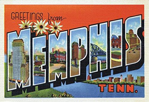 Price comparison product image Greetings from Memphis,  Tennessee,  TN,  Postcard Art,  Vintage,  Souvenir,  Travel,  Locker Magnet 2 x 3 Fridge Magnet