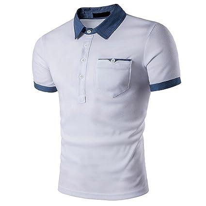 Camisetas para hombre Liusdh Vaca Color Revers Cuello Leader ...