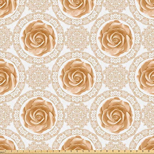 Lunarable Roses Fabric by The Yard, Vintage Inspired Pattern with Swirls and Curves Lace Design Flourishing Rose, Microfiber Fabric for Arts and Crafts Textiles & Decor, 10 Yards, Pale Caramel White