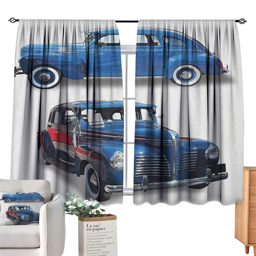 familytaste Vintage Car,Kitchen Curtains Picture of Old Antique Cars Historical Automobile Nostalgic in Vintage Style Window Curtain for Living Room W55 x G39
