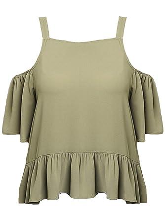9e6d73a5902e5d Luxury Divas Olive Green Womens Plus Size Off-The-Shoulder Top with Ruffles  Size