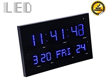 Amazon slim large metal glass digital clock jumbo display slim large metal glass digital clock jumbo display with blue led light wall aloadofball Gallery