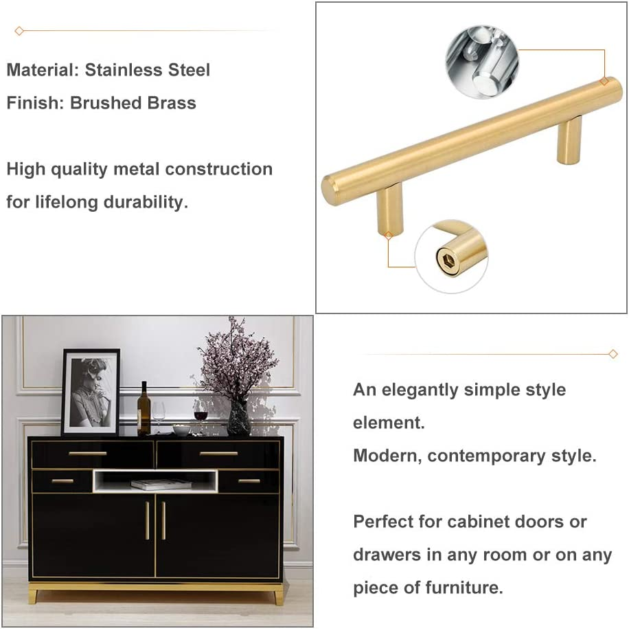 Bathroom Cabinet Handles Wardobe Drawer Knobes Gold LONTAN LS201GD 192mm Hole Centers Stainless Steel Kitchen Handles Brushed Brass 15 Pack