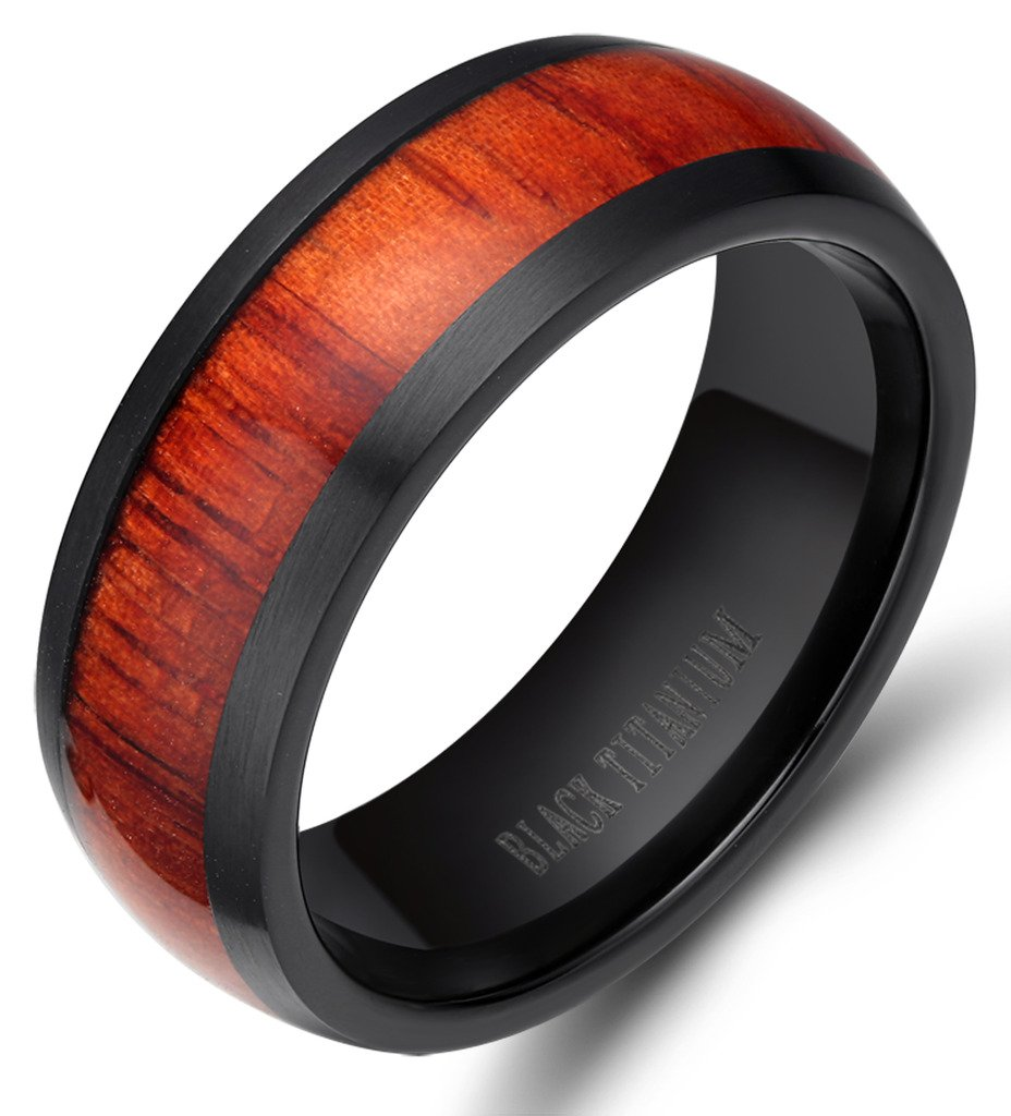 8mm Men's Women Black Titanium Ring with Real Wood Inlay Comfort Fit Wedding Band Size 5 - 14 (10.5)