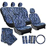 zebra car accessories interior - OxGord 21pc Set Zebra Car Seat Cover, Carpet Floor Mats, Steering Wheel Cover, Shoulder Pads - Airbag - Front Low Back Buckets - Universal Fit, Truck, SUV, or Van - Blue
