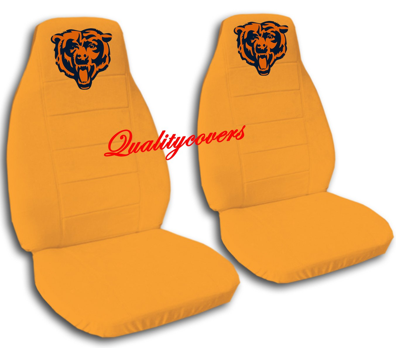 2 Orange Chicago seat covers for a 2007 to 2012 Ford Fusion. Side airbag friendly.
