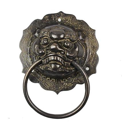 Antique Gate Animal Head Door Knocker Lion Head Handle Pure