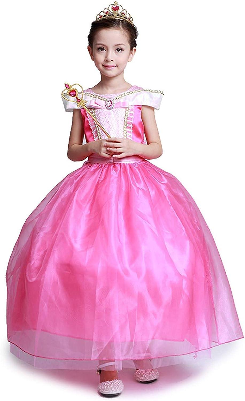 DOCHEER Girls Princess Costume Pink Fancy Party Dress Birthday Halloween Cosplay Dresses