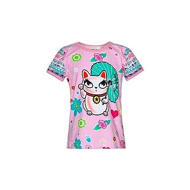 Mim pi Mim Pi Pinkfarbenes T Shirt mit buntem