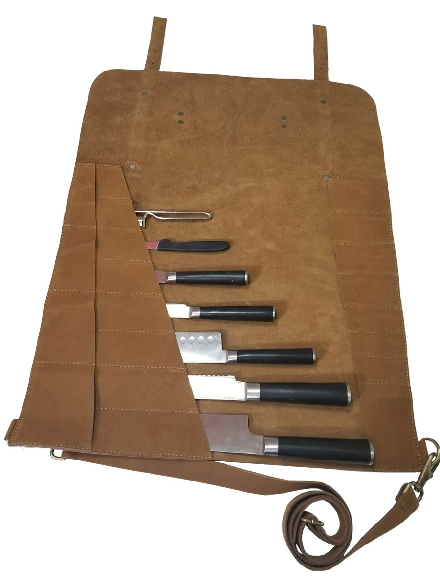 Lightweight Genuine Premium Vintage Tan Leather Professional Chef Knives Bag/Chef Knife Roll 8 Slots by luvsecretlingerie (Image #2)