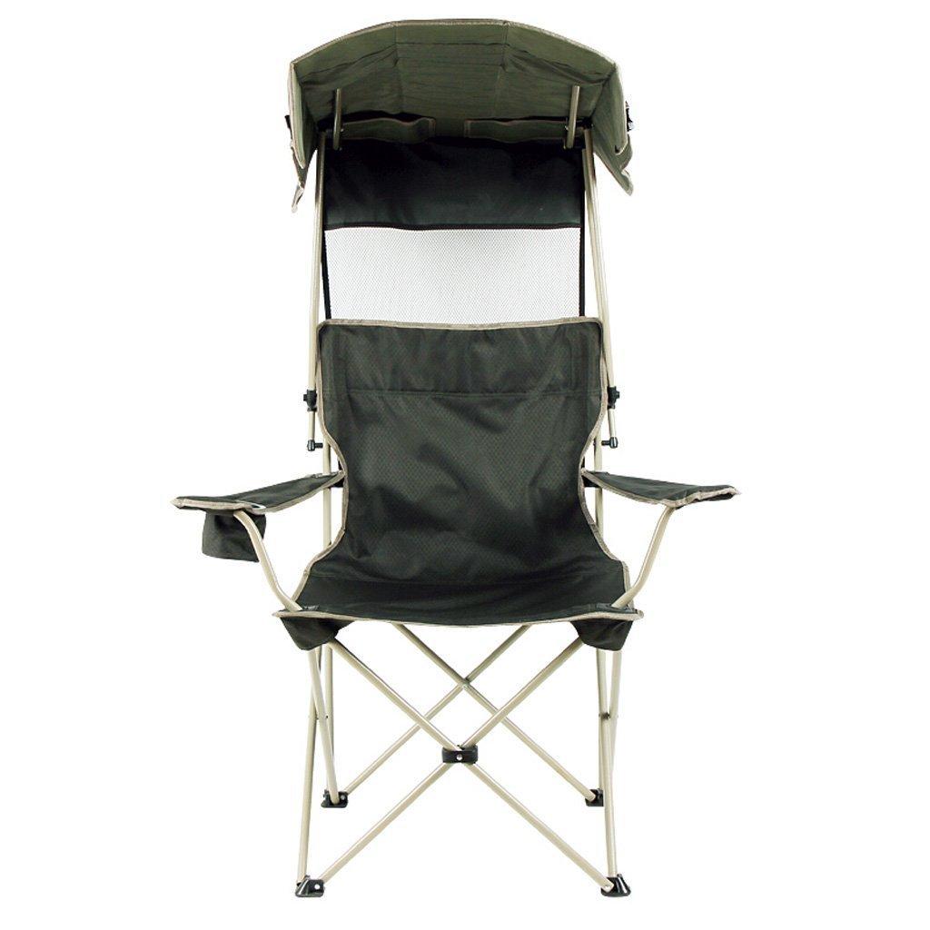 折り畳み式椅子、ダークグリーンサンキャノピーラウンジチェアポータブル釣りチェア屋外折り畳み式ビーチチェアキャンプフィッシングリラクシングチェア軽量で丈夫な屋外シートサンプロテクションサンシェードチェア   B07F1ZBS2N