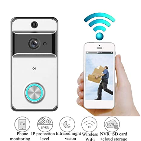 axusndas Timbre de Video WiFi, cámara de Seguridad Impermeable con Timbre Inteligente 720P, visión
