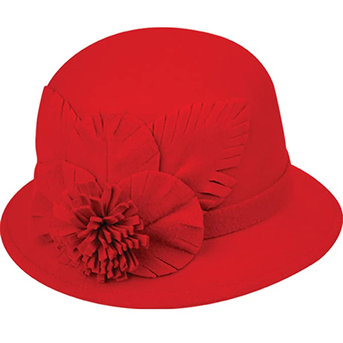 CL2181 Women s Felt Cloche Hat with Self Flower (A RED) at Amazon ... b905886b0745