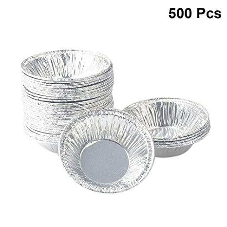 BESTONZON 500 UNIDS Desechable Papel de Aluminio Muffin Cupcake Molde de Huevo Redondo Tarta de Moldes