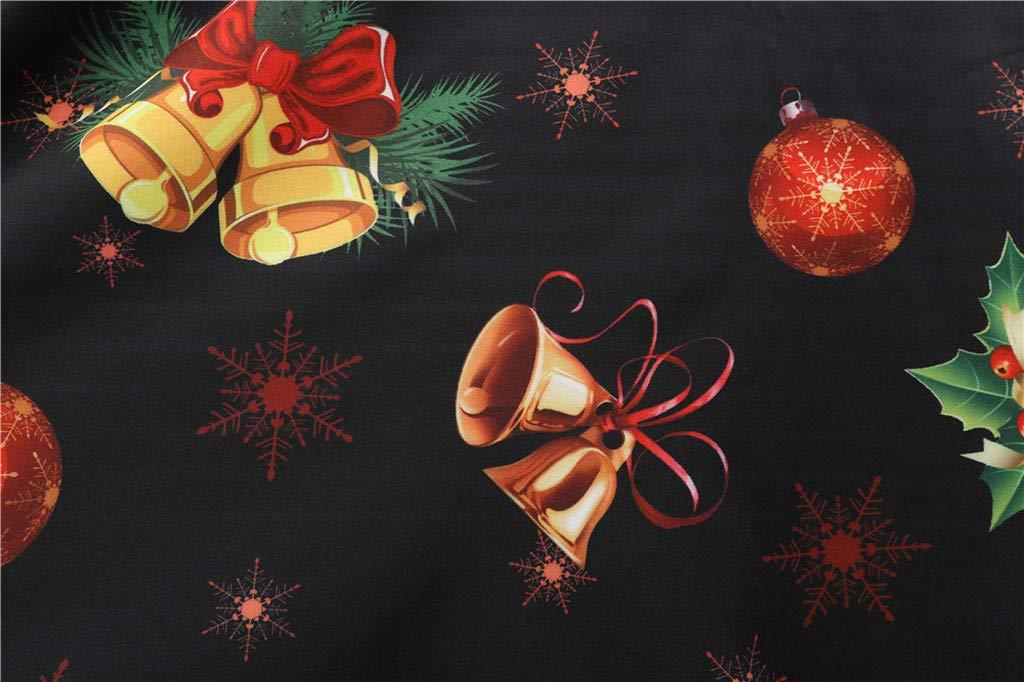 BIKETAFUWY Rockabilly Damen Vintage Weihnachten Schneeflocke Drucken Cocktailkleid Weihnachten Abendgesellschaft Swing Kleid Faltenrock Weihnachtskleid Party Festlich Kleid