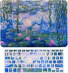 MacBook Pro 13 inch Case 2020 2019 2018 2017 Release A2159 A1989 A1706, Plastic Hard Shell Case&Screen Protector with Keyboard Cover, Monet Water Lilies
