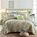 Striped Jacquard Style 3-Piece 100% Cotton Patchwork Queen Quilts and Bedspreads