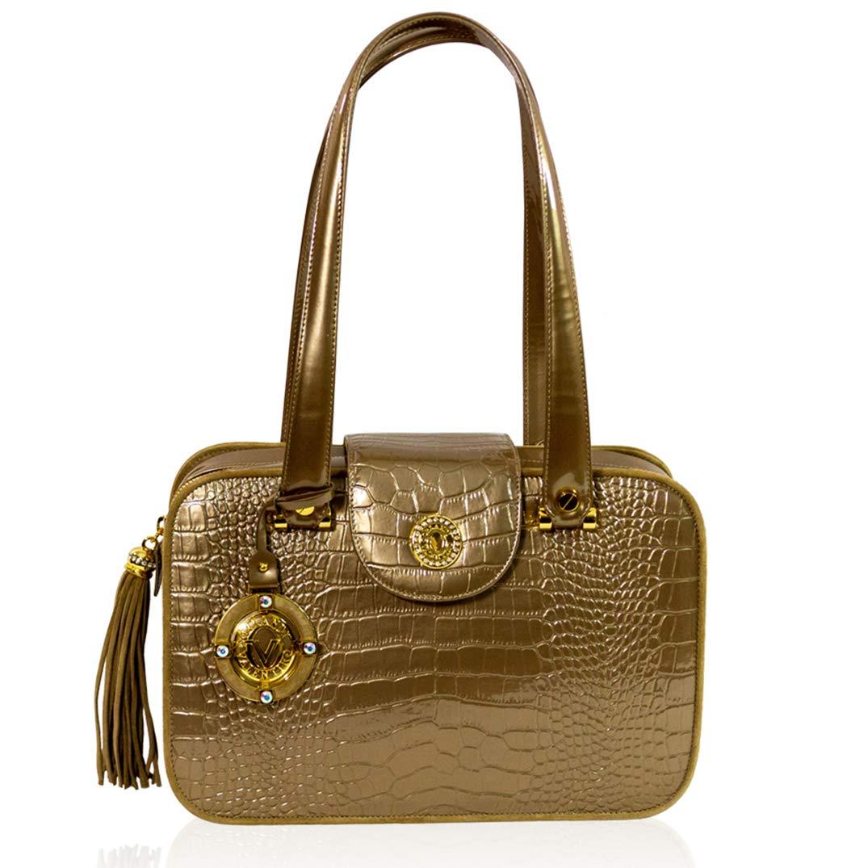 3c83f1f04 Valentino Orlandi Italian Designer Bronze Croc Embossed Leather Purse Boxy  Bag: Handbags: Amazon.com