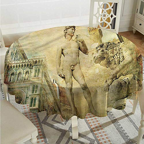Tim1Beve Italy Round Tablecloth Florence Artistic Collage High-end Durable Creative Home D50 INCH